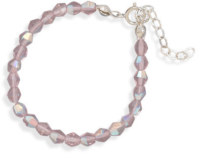 "5"" + 1"" Extension Pink Czech Glass Bead Bracelet 925 Sterling Silver"
