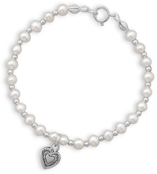 "6"" Cultured Freshwater Pearl and Silver Bead Bracelet with Oxidized Heart 925 Sterling Silver"