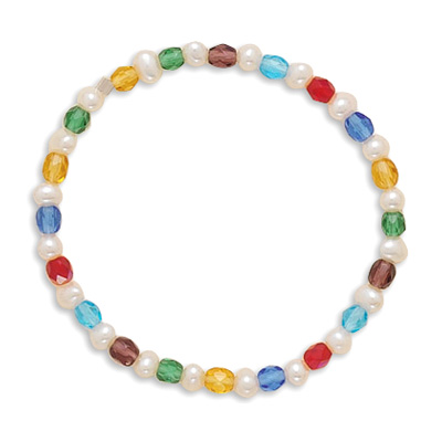 "6"" Multicolor Glass and Cultured Freshwater Pearl Stretch Bracelet 925 Sterling Silver- DISCONTINUED"