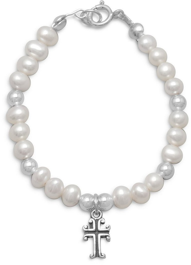 "5"" White Cultured Freshwater Pearl and Silver Bead Bracelet with Cross 925 Sterling Silver"