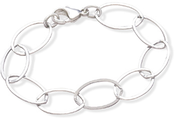 "7.5"" Oval Polished Flat Link Bracelet 925 Sterling Silver"