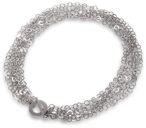 "17"" Rhodium Plated Six Strand Open Link Toggle Necklace 925 Sterling Silver - DISCONTINUED"