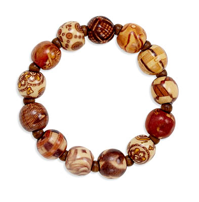 Painted Bamboo Bead Stretch Bracelet- DISCONTINUED