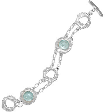 "7.5"" Double Strand  Round Textured Silver and  Roman Glass Toggle Bracelet 925 Sterling Silver"