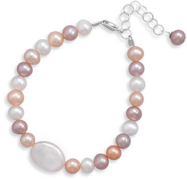 "5""+1"" Extension Multicolor Round and Oval Coin Cultured Freshwater Pearl Bracelet 925 Sterling Silver - DISCONTINUED"