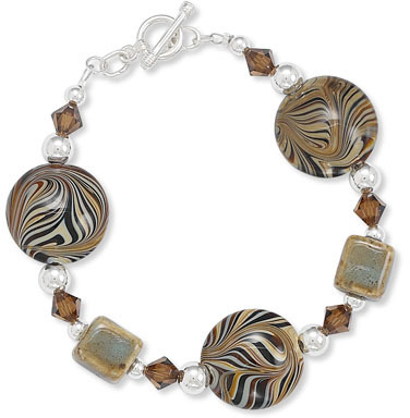 "7.5"" Toggle Bracelet with Austrian Crystals, Ceramic and Brown Swirl Glass Beads 925 Sterling Silver"