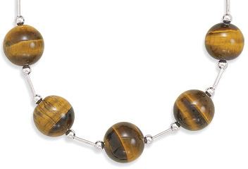 "7.5"" Toggle Bracelet with 10mm (3/8"") Tigers Eye Beads 925 Sterling Silver - DISCONTINUED"