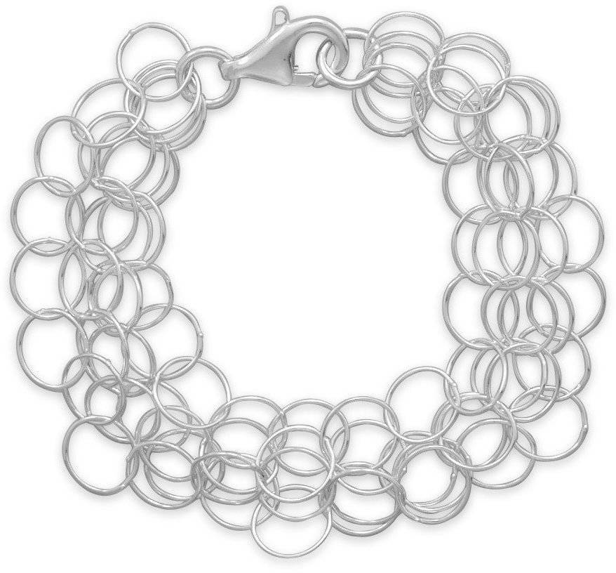 "7"" 4 Strand Small Round Wire Link Bracelet 925 Sterling Silver"