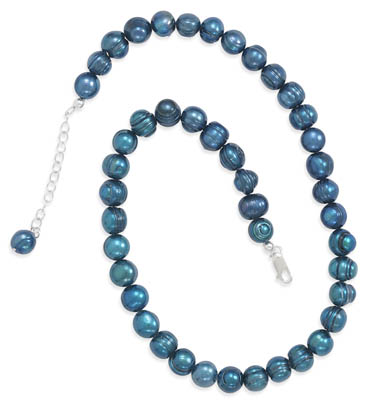 "18""+ 2"" Extension Teal Cultured Freshwater Pearl Knotted Necklace 925 Sterling Silver - DISCONTINUED"