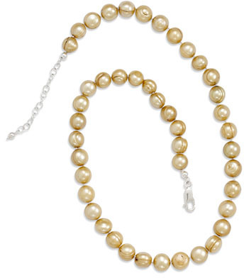 "18"" + 2"" Extension Gold Cultured Freshwater Pearl Knotted Necklace 925 Sterling Silver"