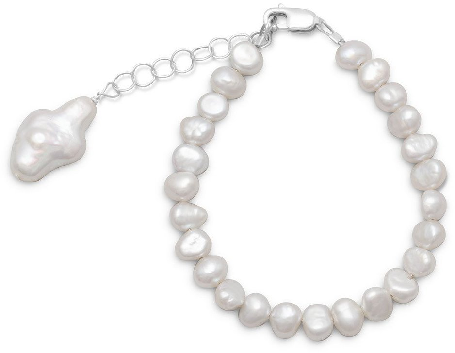 "5""+1"" Extension Cultured Freshwater Pearl Bracelet with Pearl Cross 925 Sterling Silver"