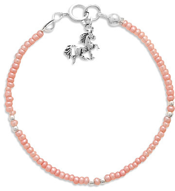 "5"" Pink Seed Bracelet with Unicorn Charm 925 Sterling Silver"