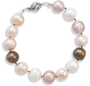 "7"" Earth Tone Colored 10mm (3/8"") Cultured Freshwater Pearl Knotted Bracelet 925 Sterling Silver - DISCONTINUED"