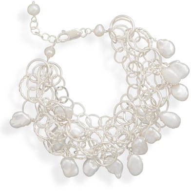 "7""+1""Extension 5 Strand Bracelet with Cultured Freshwater Pearls 925 Sterling Silver"