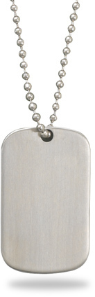 "25"" Stainless Steel Bead Chain and Dog Tag Necklace"