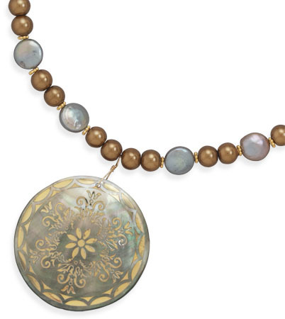 "16""+2"" Glass Pearl and Coin Pearl Necklace Featuring a Shell Pendant and 14K Gold Plated Beads 925 Sterling Silver"