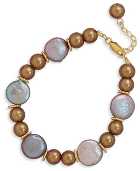 "7""+1"" Glass Pearl and Coin Pearl Bracelet Featuring 14K Gold Plated Beads 925 Sterling Silver"