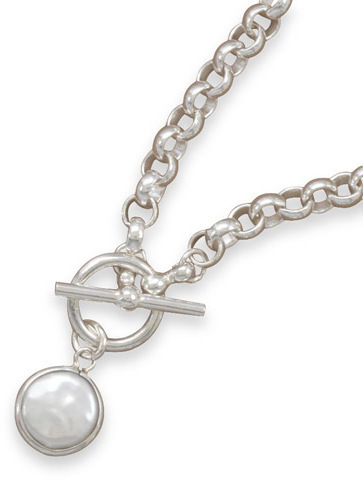 "16"" Toggle Link Necklace with Bezel Set Coin Pearl Drop 925 Sterling Silver"