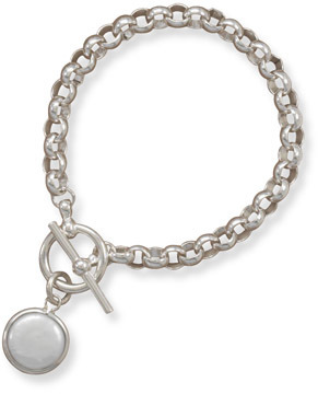 "7"" Toggle Link Bracelet with Bezel Set Coin Pearl Drop 925 Sterling Silver"