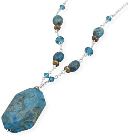 "16""+1"" Extension Necklace with Dyed Blue Lace Agate, Cultured Freshwater Pearl and Swarovski Crystal 925 Sterling Silver"