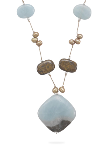 "16""+2"" Extension Necklace with Amazonite, Bronzite and Cultured Freshwater Pearls 925 Sterling Silver - DISCONTINUED"