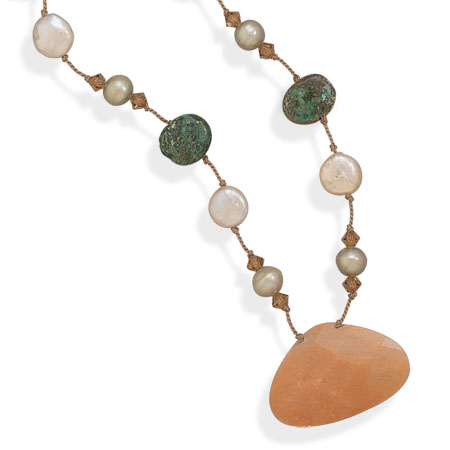 "16.5""+2"" Extension African Turquoise, Cultured Freshwater Pearl, Crystal and Peach Jasper Necklace 925 Sterling Silver- DISCONTINUED"