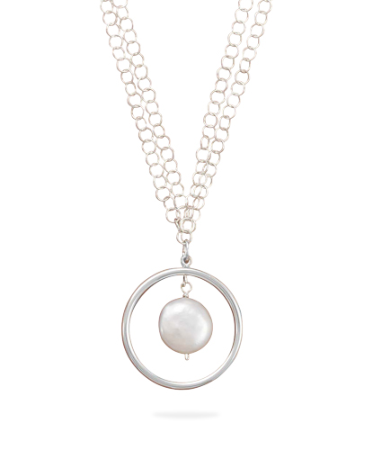 "16""+2"" Extension Double Strand Necklace with Open Circle and Coin Pearl Drop 925 Sterling Silver - DISCONTINUED"
