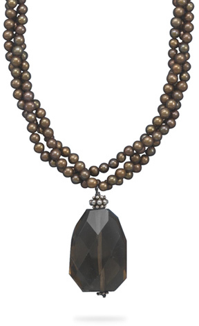 "16.5""+2"" Three Strand Brown Cultured Freshwater Pearl Necklace with Faceted Smoky Quartz Drop 925 Sterling Silver"