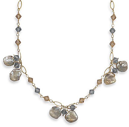 "16""+2"" Extension 14/20 Gold Filled Necklace with Keshi Pearl and Swarovski Crystals 925 Sterling Silver"