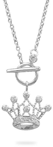 "18"" Rhodium Plated CZ Crown Toggle Necklace 925 Sterling Silver - DISCONTINUED"