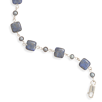 "7""+1"" Extension Lapis and Grey Cultured Freshwater Pearl Bracelet 925 Sterling Silver - DISCONTINUED"