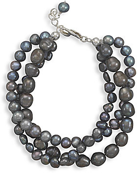 "7.5"" + 1"" Extension Triple Strand Grey Cultured Freshwater Pearl Bracelet 925 Sterling Silver"