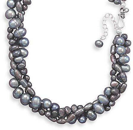 "17""+2"" Extension Triple Strand Grey Cultured Freshwater Pearl Necklace 925 Sterling Silver"