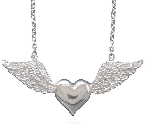 "16"" Rhodium Plated Heart with CZ Wings Necklace 925 Sterling Silver"