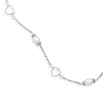 "7"" Rhodium Plated Oxidized Bracelet with Cultured Freshwater Pearls and Cut Out Hearts 925 Sterling Silver - DISCONTINUED"