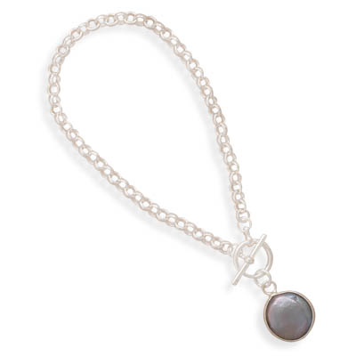 "7"" Rolo Toggle Bracelet with a Gray Cultured Freshwater Coin Pearl Drop 925 Sterling Silver- DISCONTINUED"