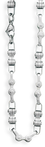 "24"" 316L Stainless steel bicycle chain necklace."