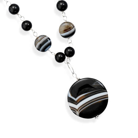 Banded Black Onyx Necklace 925 Sterling Silver - DISCONTINUED
