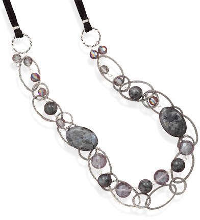 Double Strand Labradorite and Crystal Necklace 925 Sterling Silver - DISCONTINUED