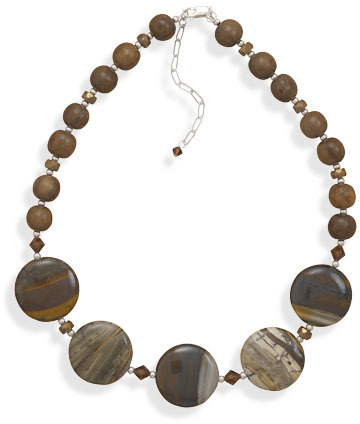 Jasper, Crystal and Wood Bead Necklace 925 Sterling Silver