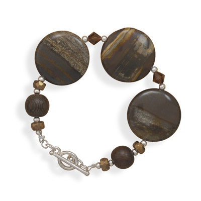 Jasper, Crystal and Wood Bead Bracelet - DISCONTINUED 925 Sterling Silver
