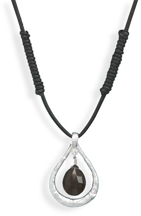 Leather Necklace with Smoky Quartz Drop 925 Sterling Silver - DISCONTINUED