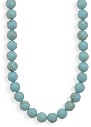 Reconstituted Turquoise Bead Necklace 925 Sterling Silver