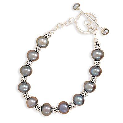 "7"" Peacock Cultured Freshwater Pearl Toggle Bracelet 925 Sterling Silver- DISCONTINUED"