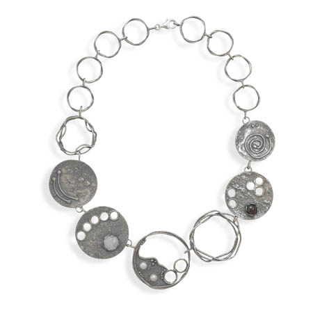 Oxidized Disc Multi Stone Necklace 925 Sterling Silver - DISCONTINUED