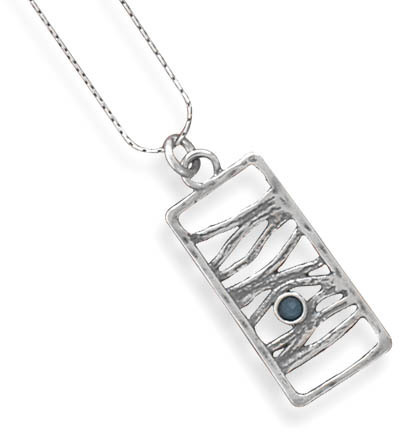 Oxidized Blue Quartz Necklace 925 Sterling Silver - DISCONTINUED
