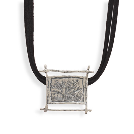 Double Strand Suede Necklace with Fern Motif Slide 925 Sterling Silver - DISCONTINUED