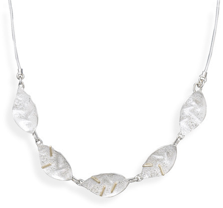 14 Karat Gold and Sterling Silver Leave Design Necklace - DISCONTINUED