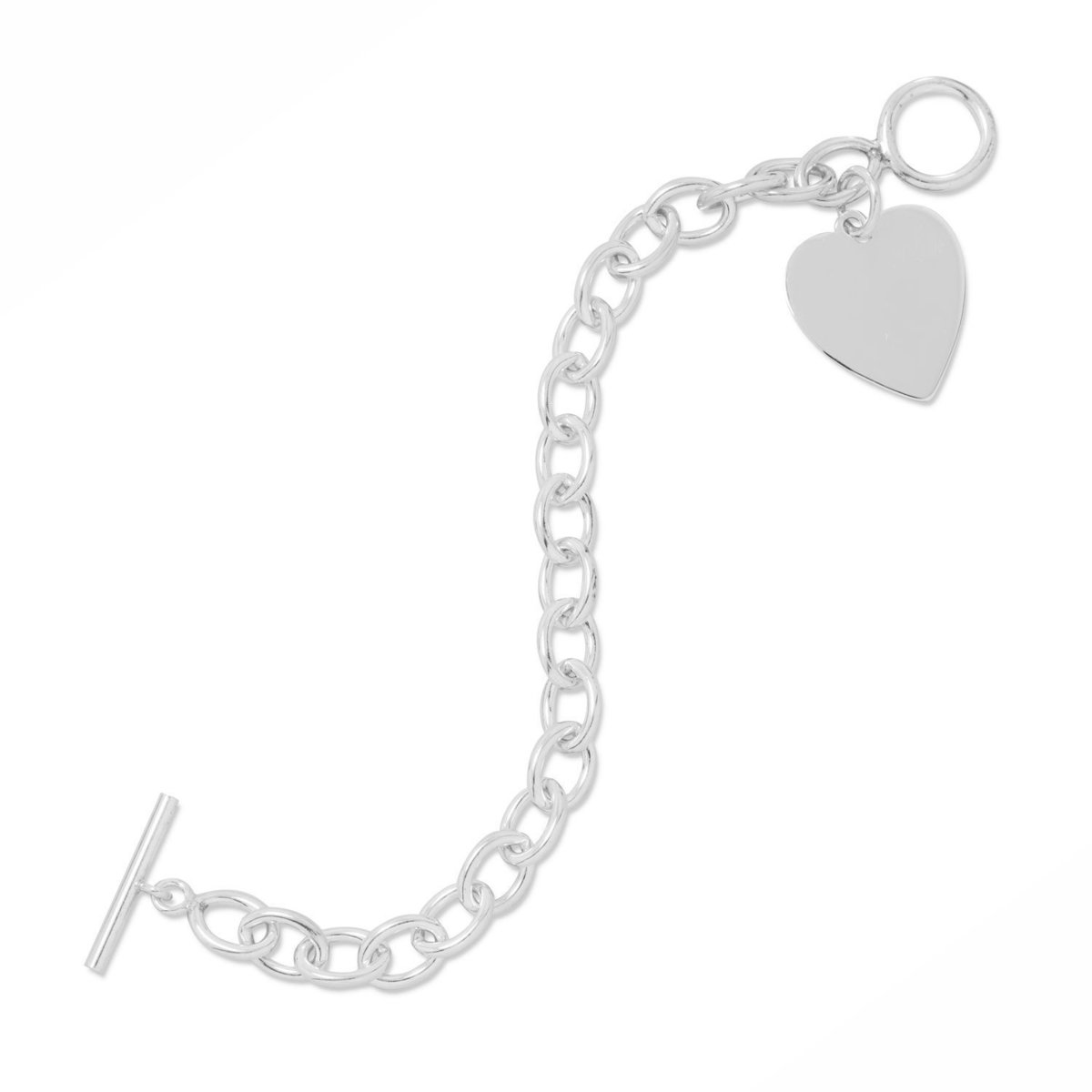 "7"" Toggle Bracelet with Engravable Heart Tag 925 Sterling Silver"