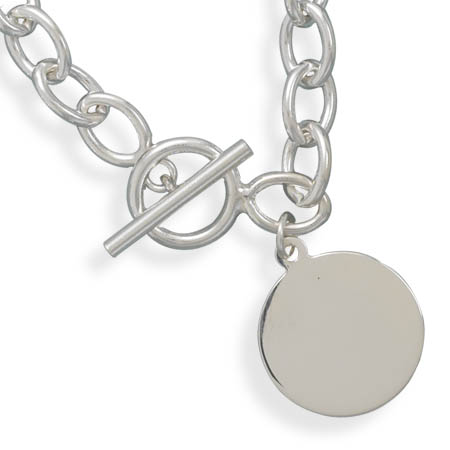 "7"" Toggle Bracelet with 21mm (5/6"") Round Tag on Ring 925 Sterling Silver - DISCONTINUED"